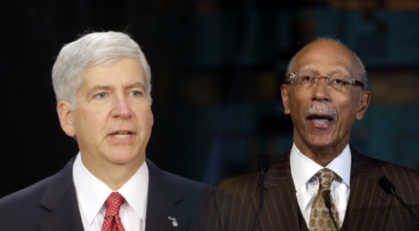 Michigan Governor Rick Snyder and Detroit Mayor Dave Bing (AP)